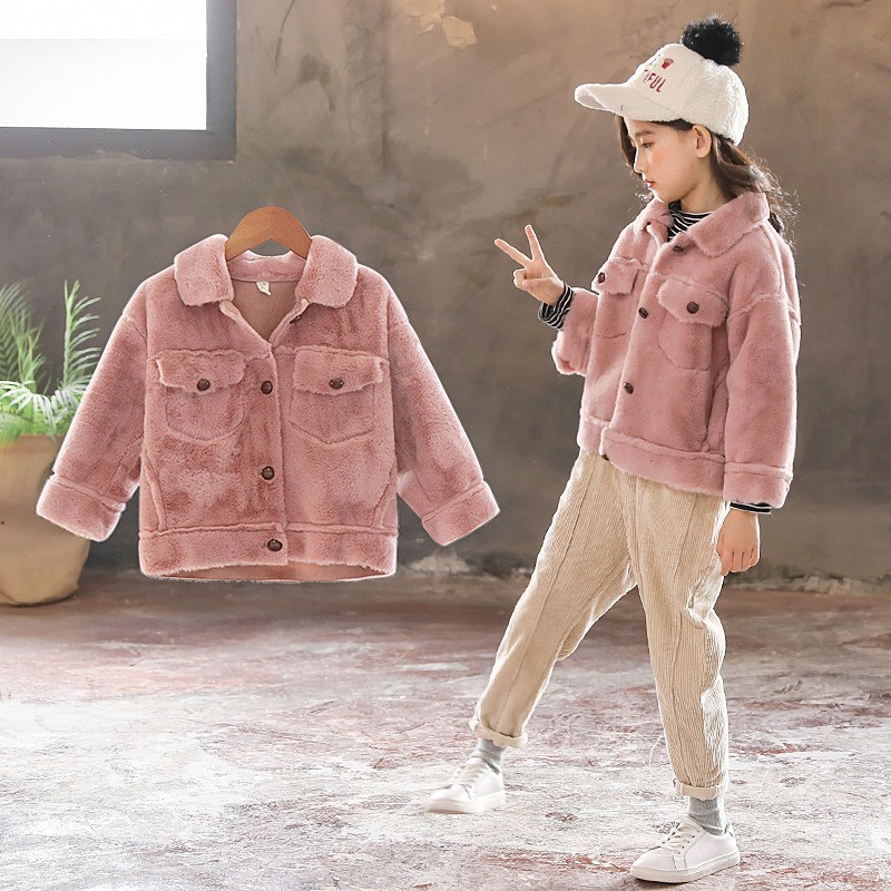 School Faux Fur Baby Coat Autumn Winter Pockets Single Breasted Teenage Jacket Coat Girl Pink Purple White Khaki Tops Children