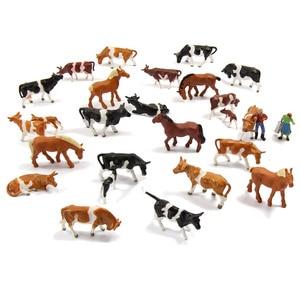 Image 3 - 36 adet 1: 87 minyatür iyi boyalı Model atlar İnekler modeli rakamlar çiftlik manzara manzara düzeni hayvanlar AN8707