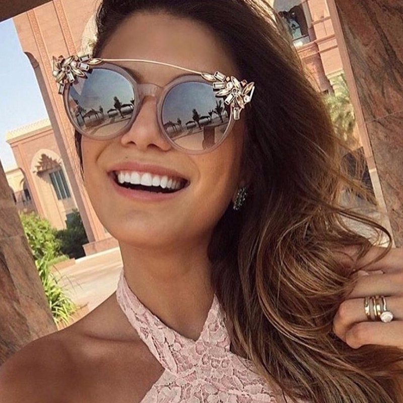 Reflective Cat Eye Sunglasses  winla new fashion 2017 cat eye sunglasses women luxury diamond