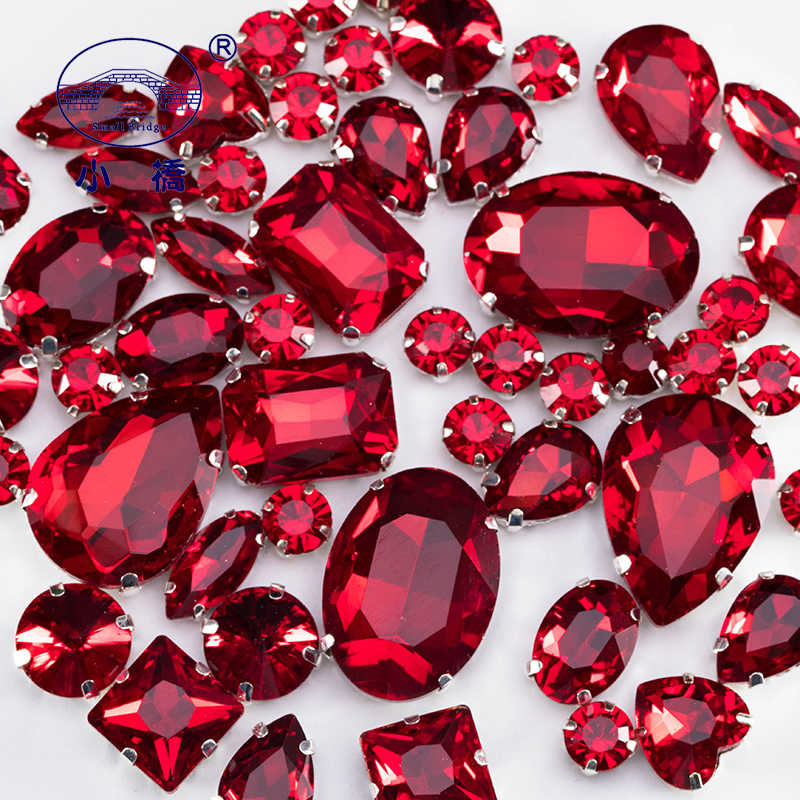 Siam Red Crystal Rhinestones With Claw Glass Stones For Clothes Decoration Colored Flatback Sew On Rhinestones 50PCS/PACK S047