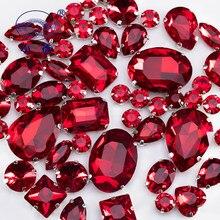 Siam – strass en cristal rouge avec griffe, pour décoration de vêtements, à dos plat, cousus sur des strass, 50 pièces/paquet, S047