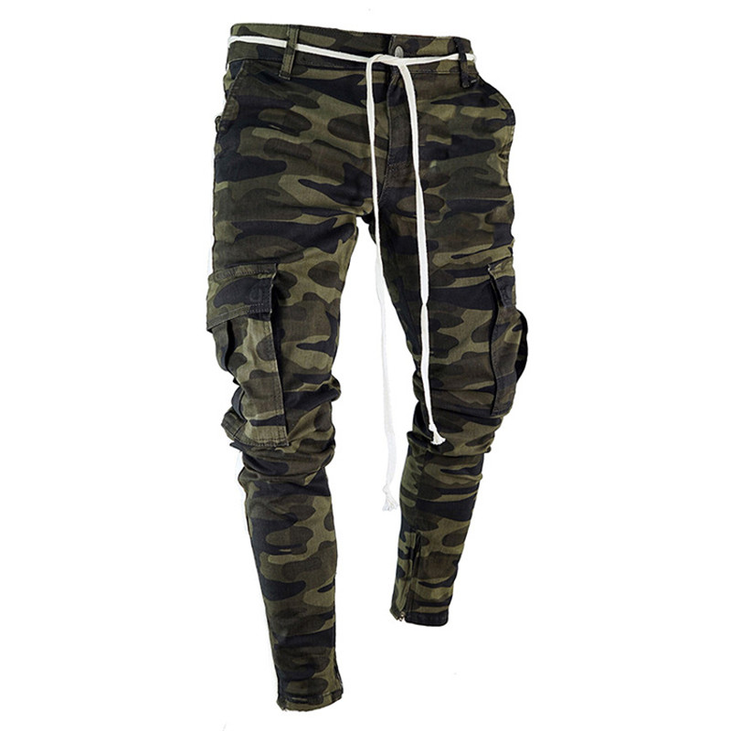 Summer Camouflage Punk Style Men's Pants Youth Streetwear Hip Hop Jeans Men Big Pocket Cargo Pants Harem Trousers Homme