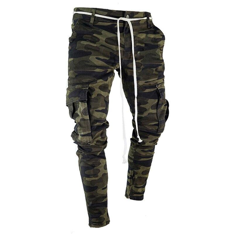 Summer Camouflage Punk Style Men's Pants Youth Streetwear Hip Hop   Jeans   Men Big Pocket Cargo Pants Harem Trousers Homme