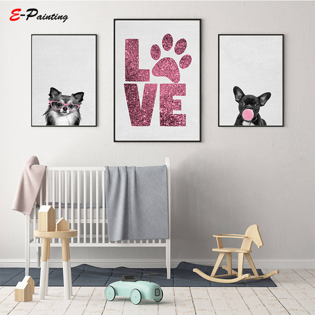 Dogs Wall Art Nursery Decor Puppy Photography Bubble Gum Poster Pink Chihuahua Print French Bulldog Canvas