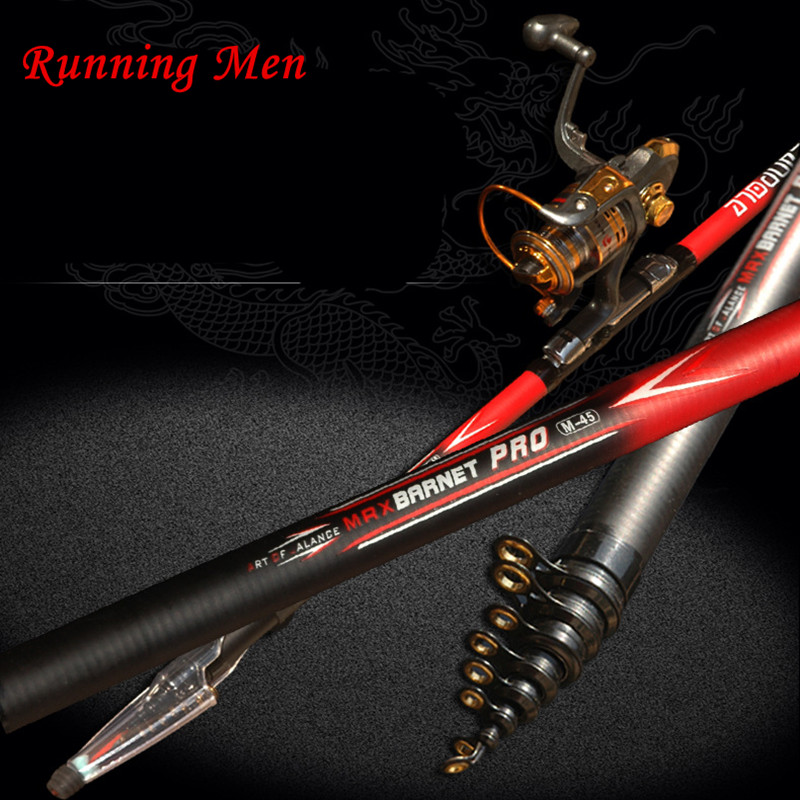Yumoshi Fishing Pole 2.4M-6.3M Carbon Fiber Telescopic Fishing Rod Carp Fishing
