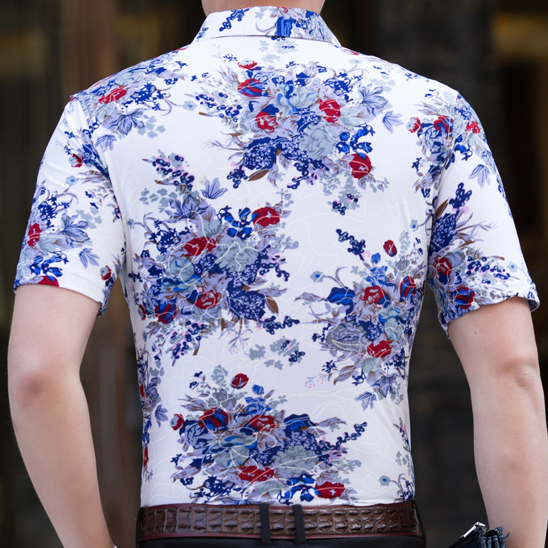 2018 short sleeve social men flower hawaii shirt dress casual slim fit summer male shirts mens fashions streetwear clothing 218