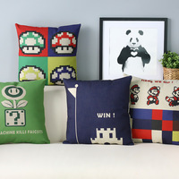 American Style Super Mary Game Cartoon Lovely Pillow Cover Home Decorative Pillows Linen Pillow Case Office