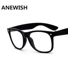 ae644a335b4d0 ANEWISH Moda Retro Óculos Moldura preta Mulheres Homens quadrados de  Espelho Plano Óculos de Armação de