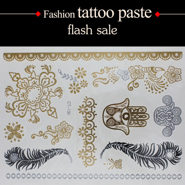 e470ec3ae6b43 wholesale temporary tattoo Gold tattoo silver Black Flash tattoos women arm  flower body art sticker sex