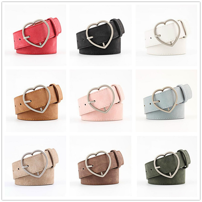 1pc Faux Leather Women Belt Vintage Waist Belts Casual Heart Shaped Buckle Waistband 100cm Waist Strap HYZ9023
