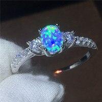 גברת תכשיטי יוקרה טבעת אופל זירקון טבעות נישואים אירוסין Cz 100% כסף סטרלינג 925 אמיתי למתנות תכשיטי נשים