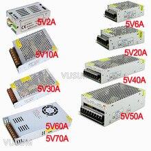 Fonte de alimentação led vusum, transformador de fonte de alimentação 5v 110v ac para dc 5v 2a driver 6a 10a 20a 30a 40a 50a 60a 72a