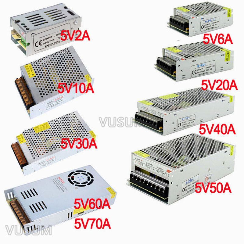 vusum Switching Led power supply <font><b>5V</b></font> power supply Transformer 110V 220V AC to DC <font><b>5V</b></font> 2A <font><b>6A</b></font> 10A 20A 30A 40A 50A 60A 72A Driver image