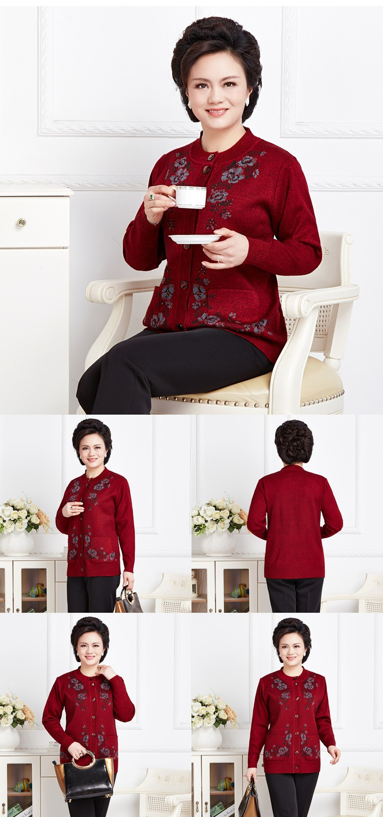 Winter Warm Wool Sweater For Women Pullover Female Printing Flower Knitted Ladies Embroidered Sweaters Pullovers b