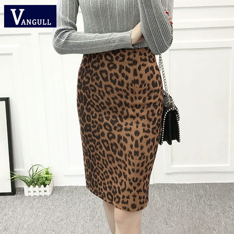 VANGULL New Women Leopard Print Skirts 2019 Spring Autumn Casual High Waist Plus Size Suede Slim Split Female Pencil Skirt