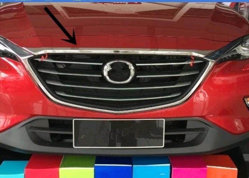 ФОТО ABS chromium front hood grille racing grill decorative frame garnish trim moulding 1pc/set car-styling For 2016 Mazda CX-4 CX4