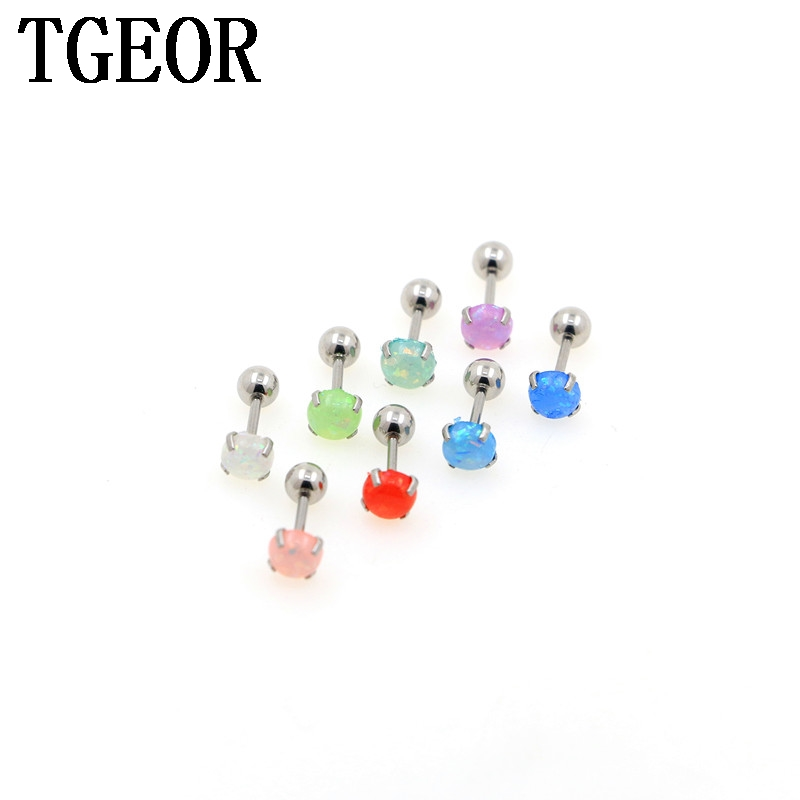 Free shipping wholesale 30pcs 1.0*6*45mm surgical Stainless Steel gem opal colors resin piercing tragus straight barbell