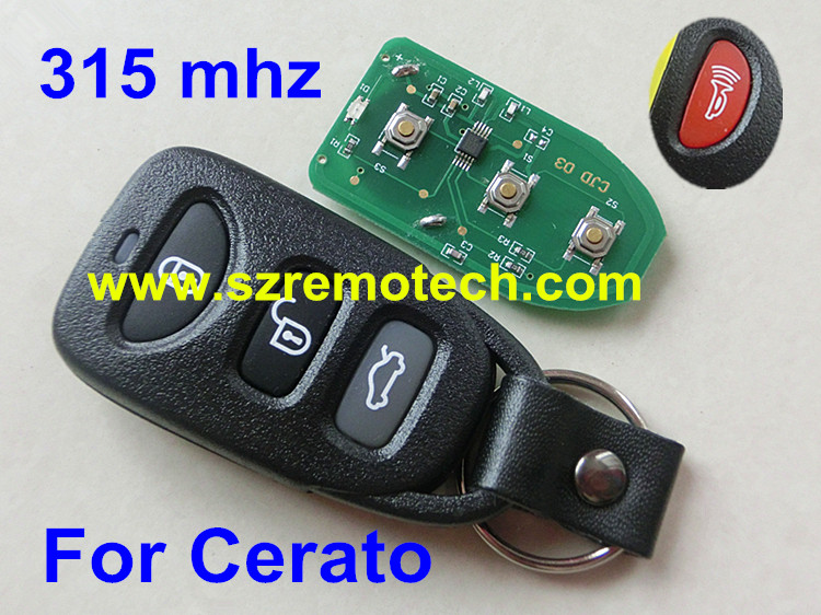 Free Shipping Remote Key 315MHz Keyless Fob 3+Panic Button Fit For KIA Cerato