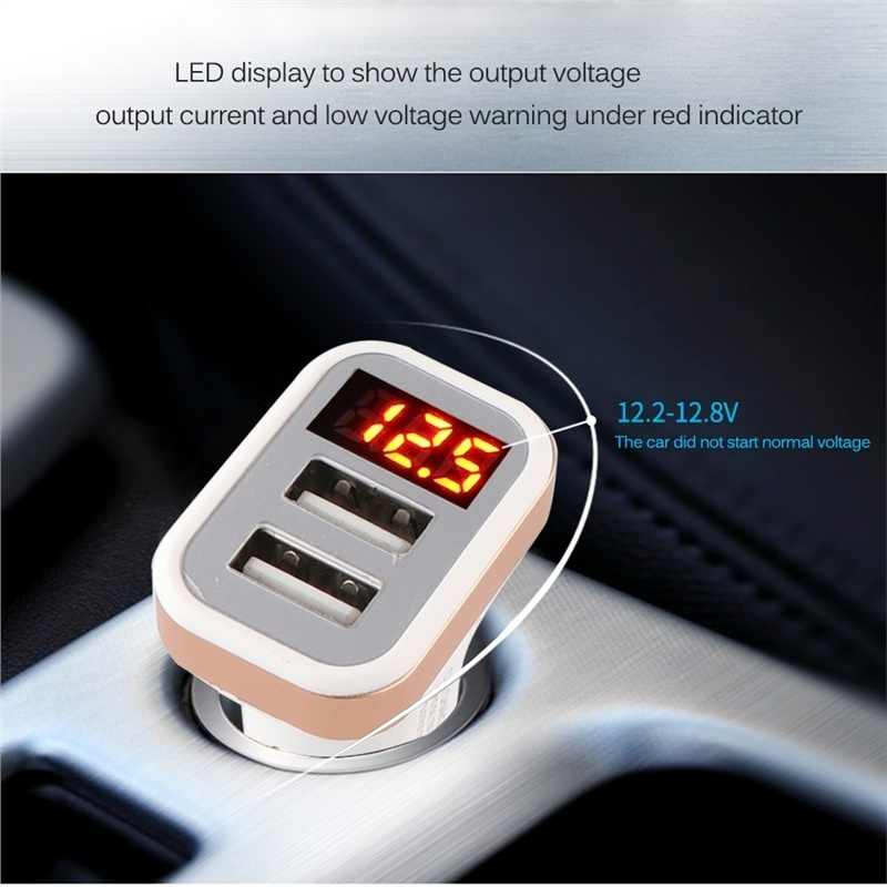5V USB Car-Charger with LED Screen Smart Auto for iPhone 7 Samsung Xiaomi Car Mobile Phone chargers Car Charger Adapter Charging
