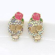 цены Women Fashion Accessories 1 Pair Personality Cute Pink Rose Rhinestone Skeleton Skull Ear Studs Earring