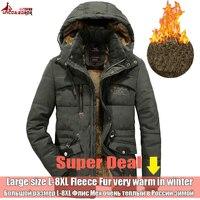 UNCO & BOROR Зимние Верхняя одежда Мужская куртка дышащие 7XL 8XL ветровка мужской мульти-карман парка пальто флис военный пальто с капюшоном