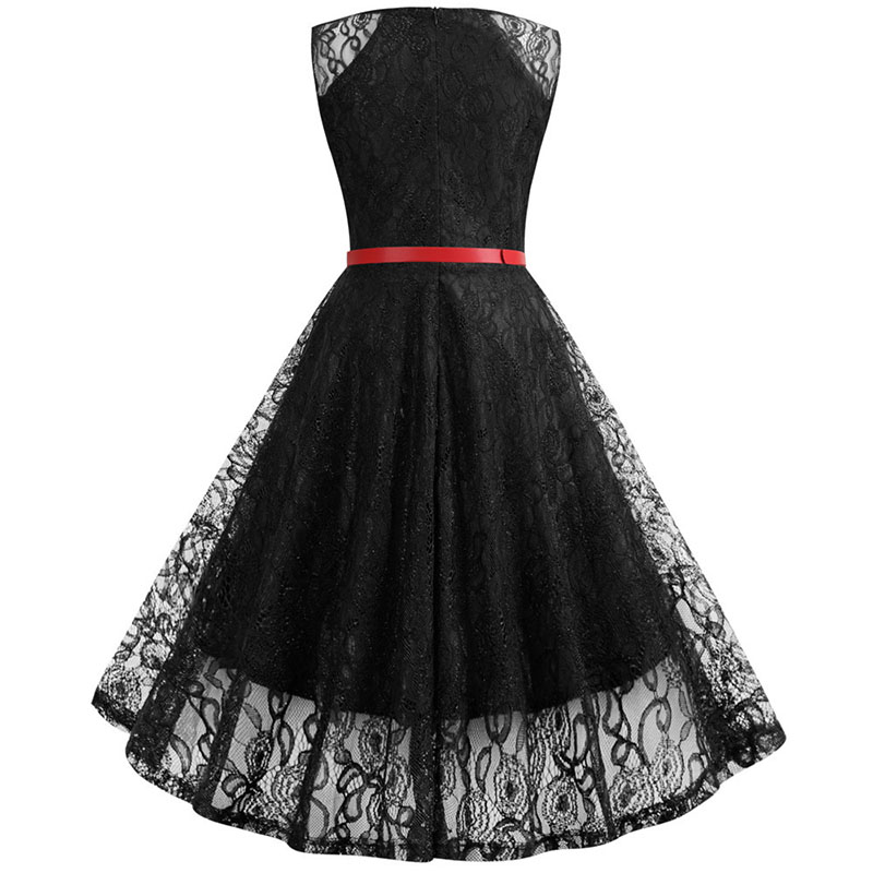 Black White Summer Lace Dress Plus Size Women Sleeveless Vintage Swing Elegant Red Midi Party Office Dress Robe Femme Vestidos 3