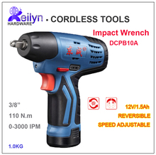12V/1.5Ah Cordless Impact Wrench Speed adjustable Rechargeable Battery Operated Torque Wrench Tightening Tool DCPB10A