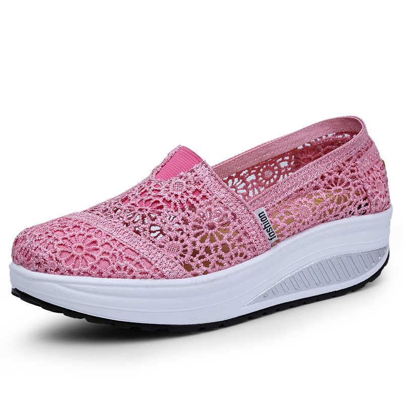 2018 женские удобные кроссовки на танкетке; обувь из сетчатого материала; женская красная повседневная обувь; дышащая сетчатая обувь на плоской подошве; обувь для пар; большие размеры