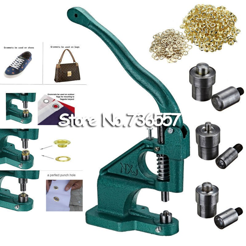 цена на Metal Manual Grommet Press Machine+6,8,10mm Die Mould+3,000(1000x3) Eyelet Supplies Making Banner Flag