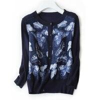High Grade Silk Blend Women S Spring Summer Fashion Patchwork Printed Thin Sweater Cardigan Pullover M