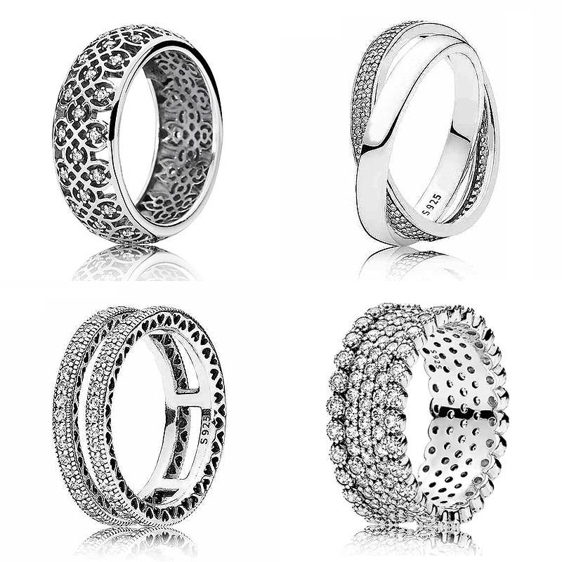 d4a947c8c0a5 Nuevo anillo de Plata de Ley 925 anillos de promesa de brillo con cristal  para mujer regalo de ...