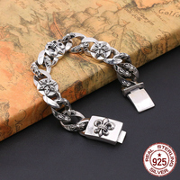 S925 sterling silver men's bracelet personality fashion classic jewelry retro punk style cross shape 2018 new gift to send lover