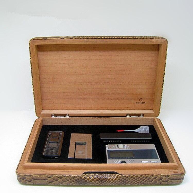 US $102 99  cohiba cigar lubinski humidor box set Python Lighter  moisturizing bar humidity Table Cigar shelf cedar pine cigar Box 6 sets-in  Cigar
