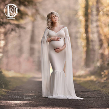 цена на Long Full Sleeve Maternity Dress Photo Shoot Soft Cotton Maxi Maternity Gown Sexy Maternity Photography Props Baby Shower Gift