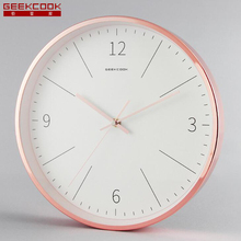 Round Metal Wall Clocks Silent Non Ticking Quartz Movement Gold Plated Watch for Living Room Bedroom