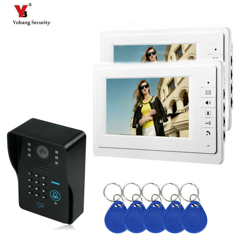 YobangSecurity 7 Inch LCD Monitor Screen Video Intercom Door Phone System + Waterproof RFID Code Keypad Doorbell Camera