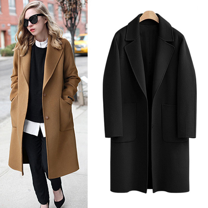 Plus Size 5XL Wool Coat Autumn Winter Large Size Women Coat 2018 New Long Woolen Jacket Coat Thick Casual Tops Womens Coat X748