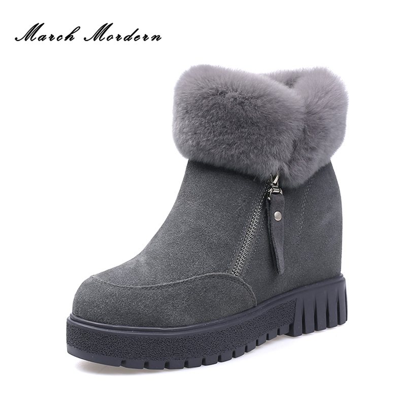 March Mordern Women Genuine Leather Flat Ankle Snow Boots Winter Warm Snow Boots Round-toe Women Shoes 3 Different Colors serene handmade winter warm socks boots fashion british style leather retro tooling ankle men shoes size38 44 snow male footwear