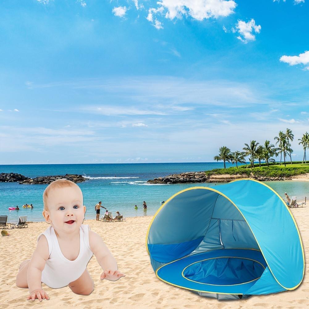 Ребенок пляж палатка УФ-защиты Sunshelter с бассейном Водонепроницаемый Всплывающие Тент Палатка Дети Открытый Кемпинг Зонт Пляжный