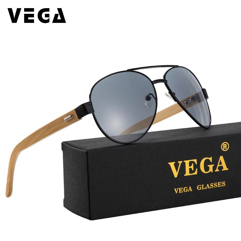 VEGA Feitas À Mão Óculos De Sol De Bambu Das Mulheres Dos Homens Óculos de Aviação Único Cinza Prata Azul Etc 7 Cores 2040