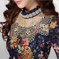 Women Spring Autumn New Fashion Lace Floral Patchwork Sweet Diamond Beaded Stand Long Sleeve Slim Lace