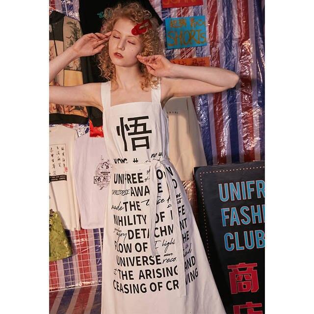UNIFREE2019 קיץ חדש נשים של ארוך מכתב מגניב ילדה אפוד שמלת גאות UDT192I021