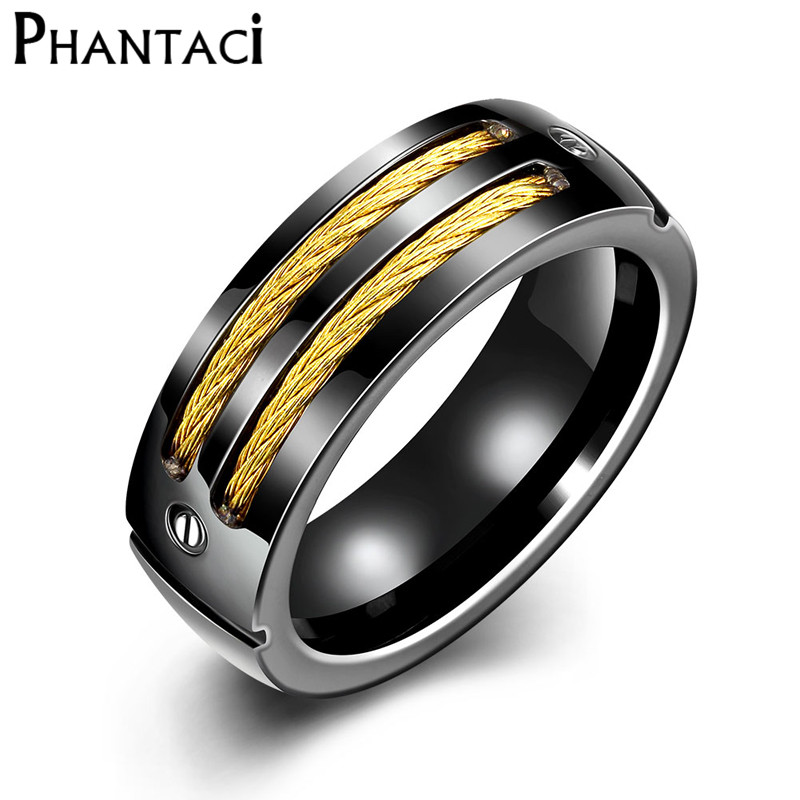 Hot Black 316L Stainless Steel Rings For Men Gold Color Titanium Metal Male Finger Rock Ring With Wire Fashion Jewelry Cool Boy