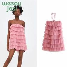 2019 Summer dress fashion lamination Sweet pink women off shoulder sexy mesh cute Mini