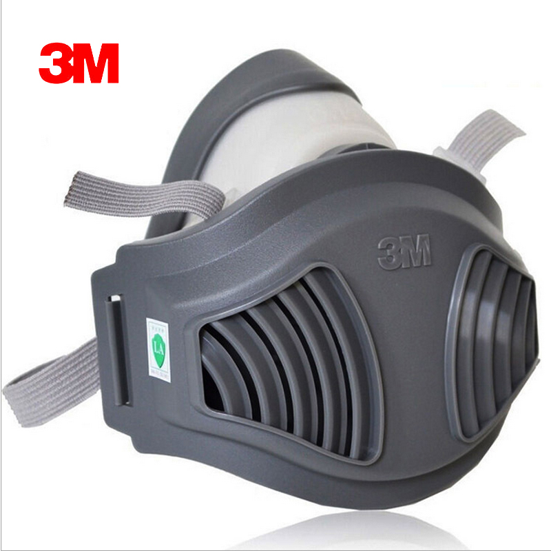 3M 1211+10pc1701Filter cotton Half Face Gas Mask Dust Anti industrial conatruction Dust pollen Haze poison Family Professional 3m 7502 dust mask 2091 high efficiency filter cotton anti industrial conatruction dust pollen haze safety protective mask