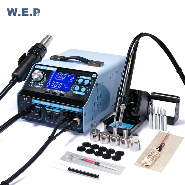 WEP 992DA+ 780W Smoking Suction Soldering Station Desoldering Station Pump Hot Air Blower Repair Tools Kit Smd Rework Station
