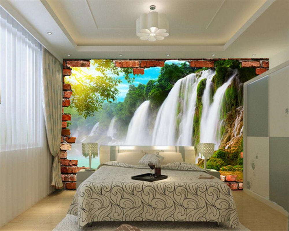 Beibehang large 3 d custom wallpaper landscape scenery brick wall beibehang large 3 d custom wallpaper landscape scenery brick wall mural wallpaper waterfall pictures wallpaper for walls 3 d in wallpapers from home amipublicfo Choice Image