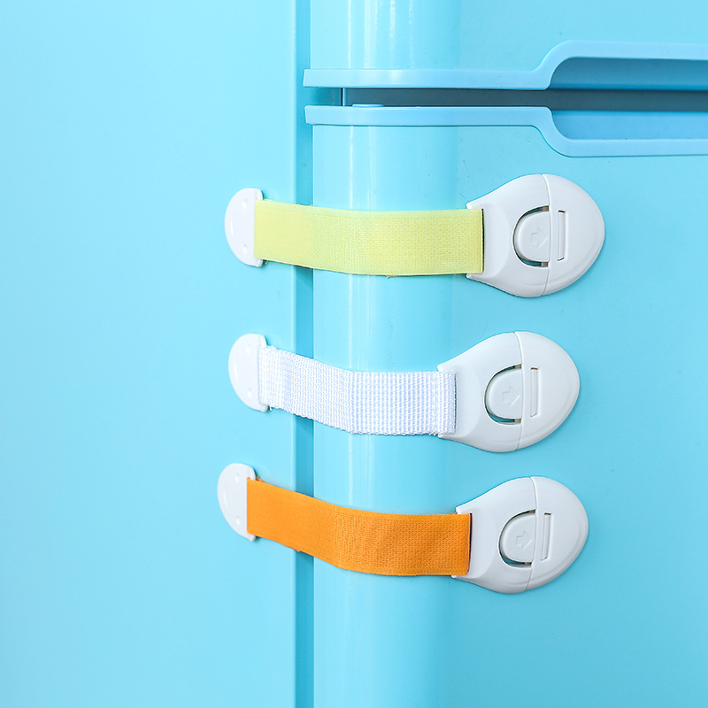 10pcs/lot Kids Playen Safety Locks Cabinet Door Drawers Refrigerator Locks Infant Baby Protection Plastic Security Straps Locks