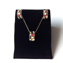 Gold Color unique red chequer enamel Jewelry Sets Round Copper Ceramic Pendant Necklace Earrings for women
