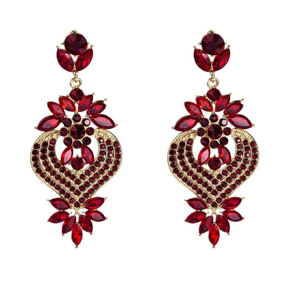 Rhinestone Statement Earrings For Women Flower Drop Dangle Earring 19 Fashion earing Trendy Wholesale Wedding Jewelry 6